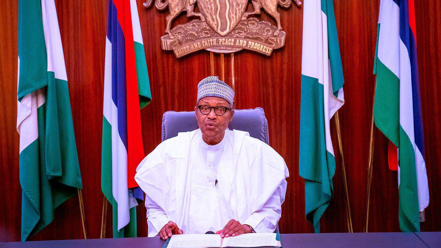 President Muhammadu Buhari delivers a televised address after the #EndSARS Protests.  Image Source: Nigerian Presidency via Reuters