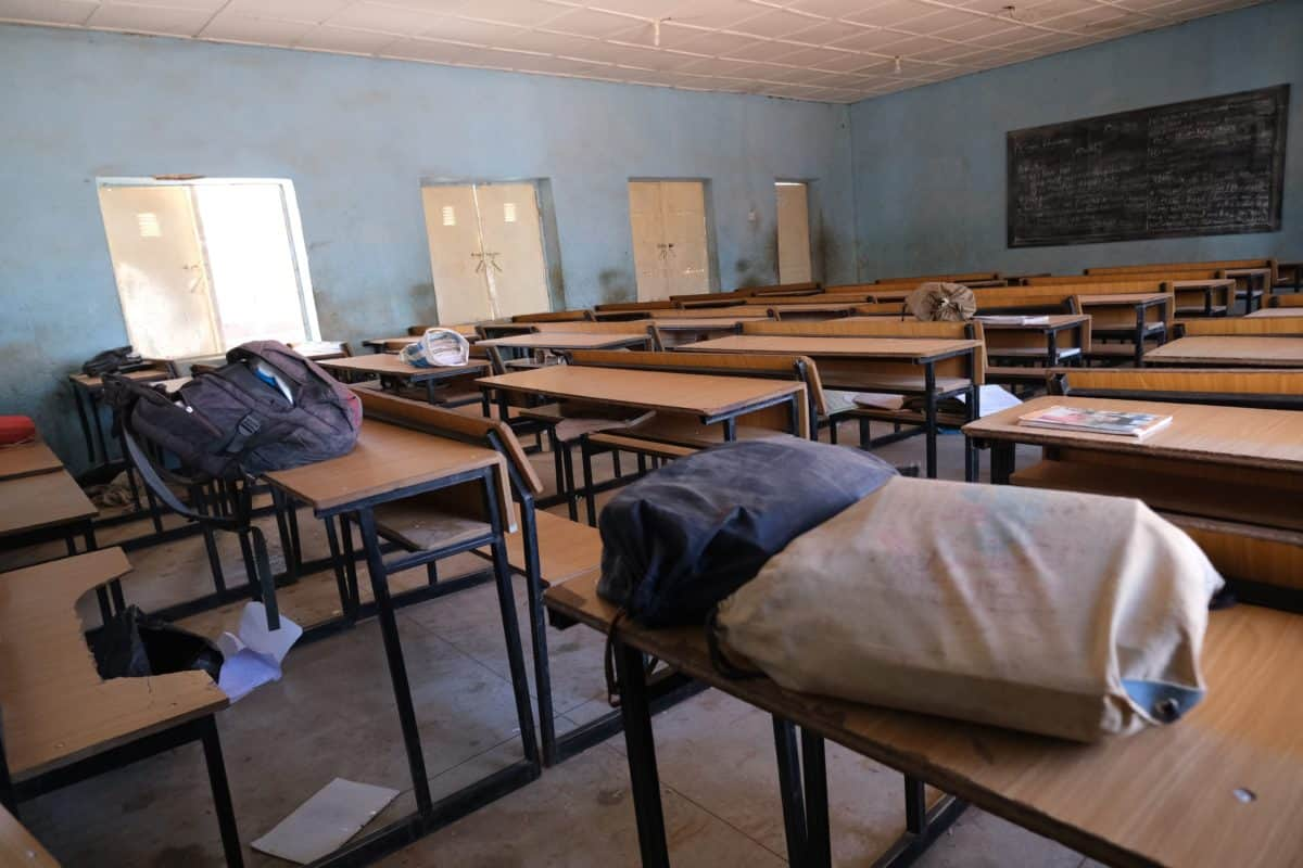 A view shows an empty classroom with school bags and wares belonging to pupils at the Government Science school where gunmen abducted students, in Kankara, in northwestern Katsina state, Nigeria December 15, 2020 - Boko Haram on Tuesday claimed the abduction of hundreds of students, marking its first attack in northwestern Nigeria since the jihadist uprising began more than ten years ago. (Photo by Kola Sulaimon / AFP) (Photo by KOLA SULAIMON/AFP via Getty Images)